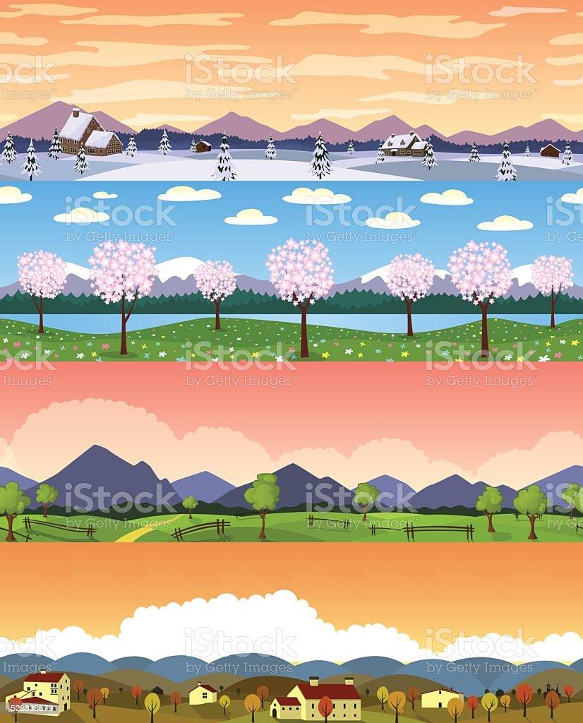 四季の風景のイラストシームレスな背景のセットです のイラスト素材