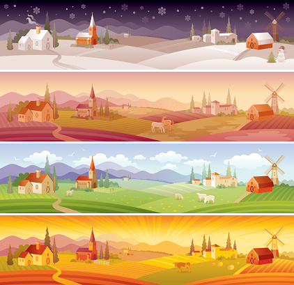 Four seasons landscapes: winter, spring, summer and autumn