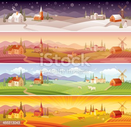 Four seasons and four times of the day landscapes: winter (night), spring (morning), summer (day) and autumn (evening).