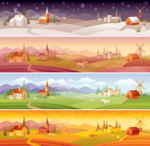 four seasons landscapes: winter, spring, summer and autumn - kırsal manzara stock illustrations