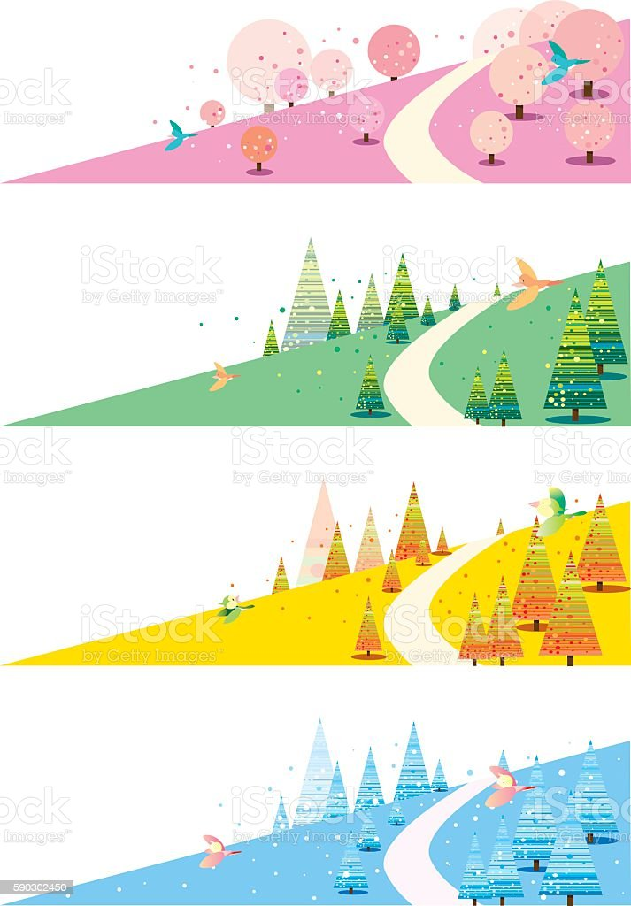 Four seasons of the hill royaltyfri four seasons of the hill-vektorgrafik och fler bilder på banderoll