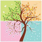 All seasons of the year - spring, summer, autumn, winter. Art tree.