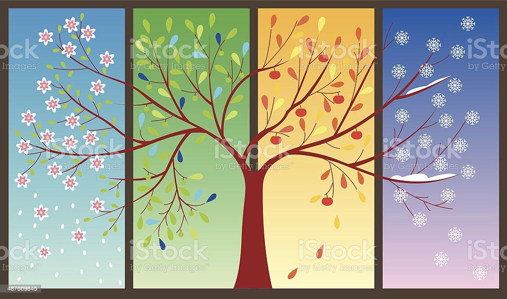 Four Seasons of the year - art illustration vector art illustration