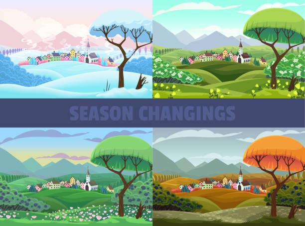 sea view dört mevsim: i̇lkbahar, yaz sonbahar ve kış. vektör karikatür manzara - four seasons stock illustrations