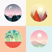 four seasons round landscape badges vector illustrations in low polygon style. Winter mountain peaks with snow, autumn forest triangular peaks, spring woods with poppies field and ocean with sunshine and distant mountains in the summer.