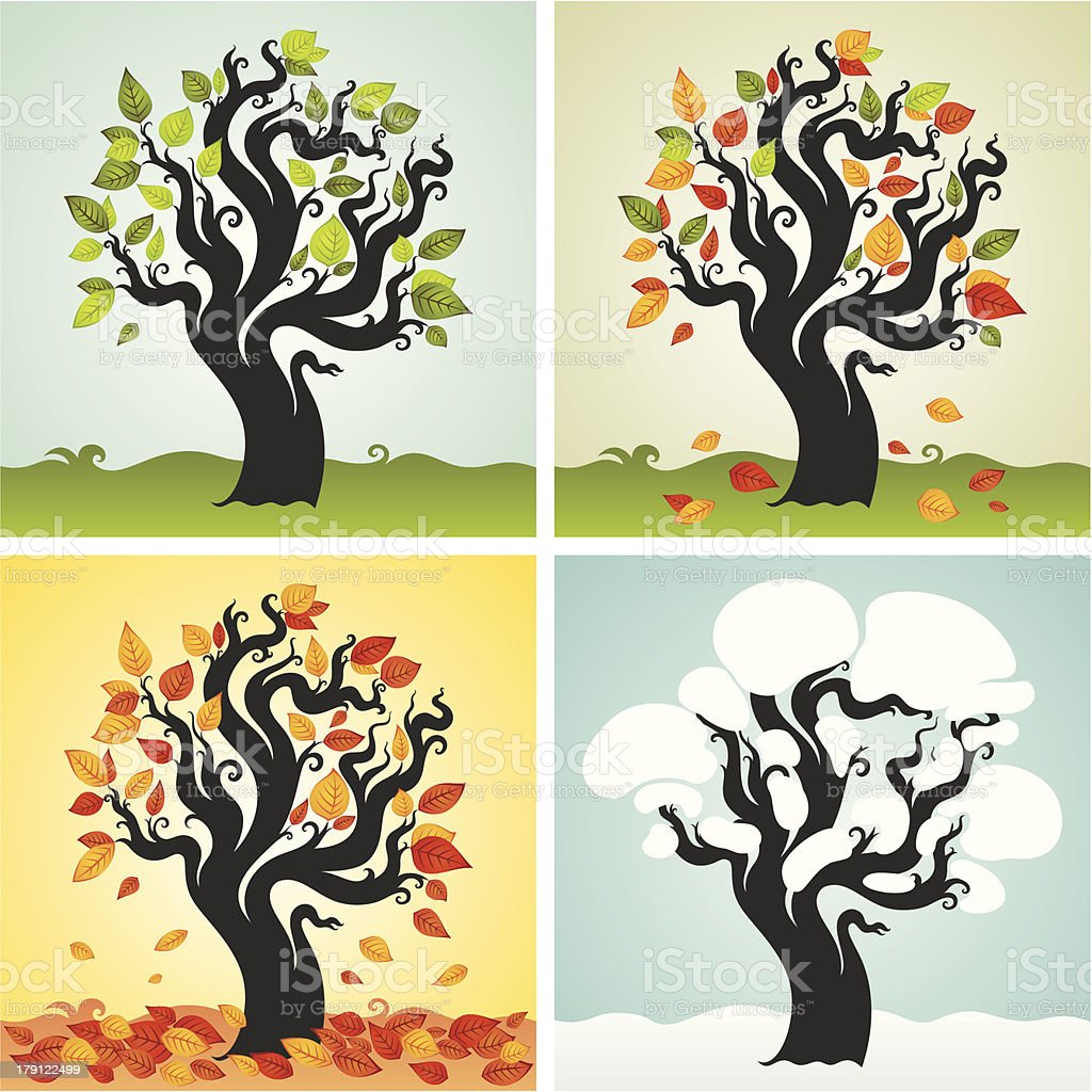 Four seasons set with tree royalty-free stock vector art