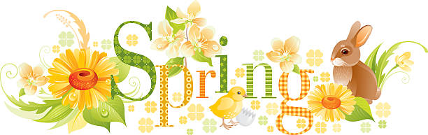 four seasons: spring banner - birds calendar stock illustrations, clip art, cartoons, & icons