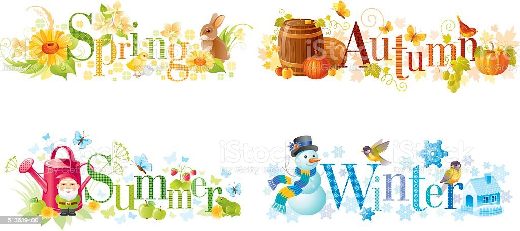 Four seasons: Spring, Summer, Autumn, Winter text banners vector art illustration
