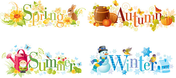 four seasons: spring, summer, autumn, winter text banners - birds calendar stock illustrations, clip art, cartoons, & icons