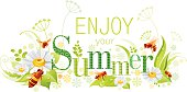 Four seasons: Summer banner with bee