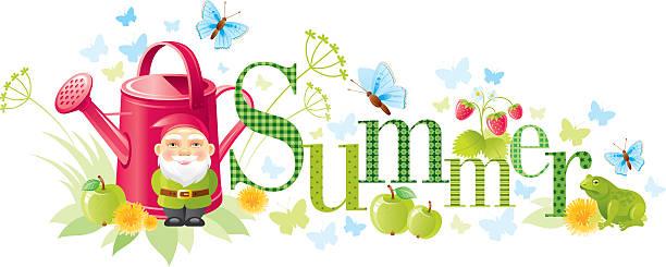 ilustraciones, imágenes clip art, dibujos animados e iconos de stock de cuatro estaciones : bandera de verano - calendario de naturaleza