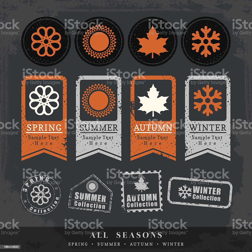 four seasons symbol vector illustration for postage stamp label tag royalty-free four seasons symbol vector illustration for postage stamp label tag stock vector art & more images of abstract