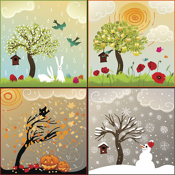 four seasons themed illustrations set with tree, birdhouse and surroundings vector art illustration
