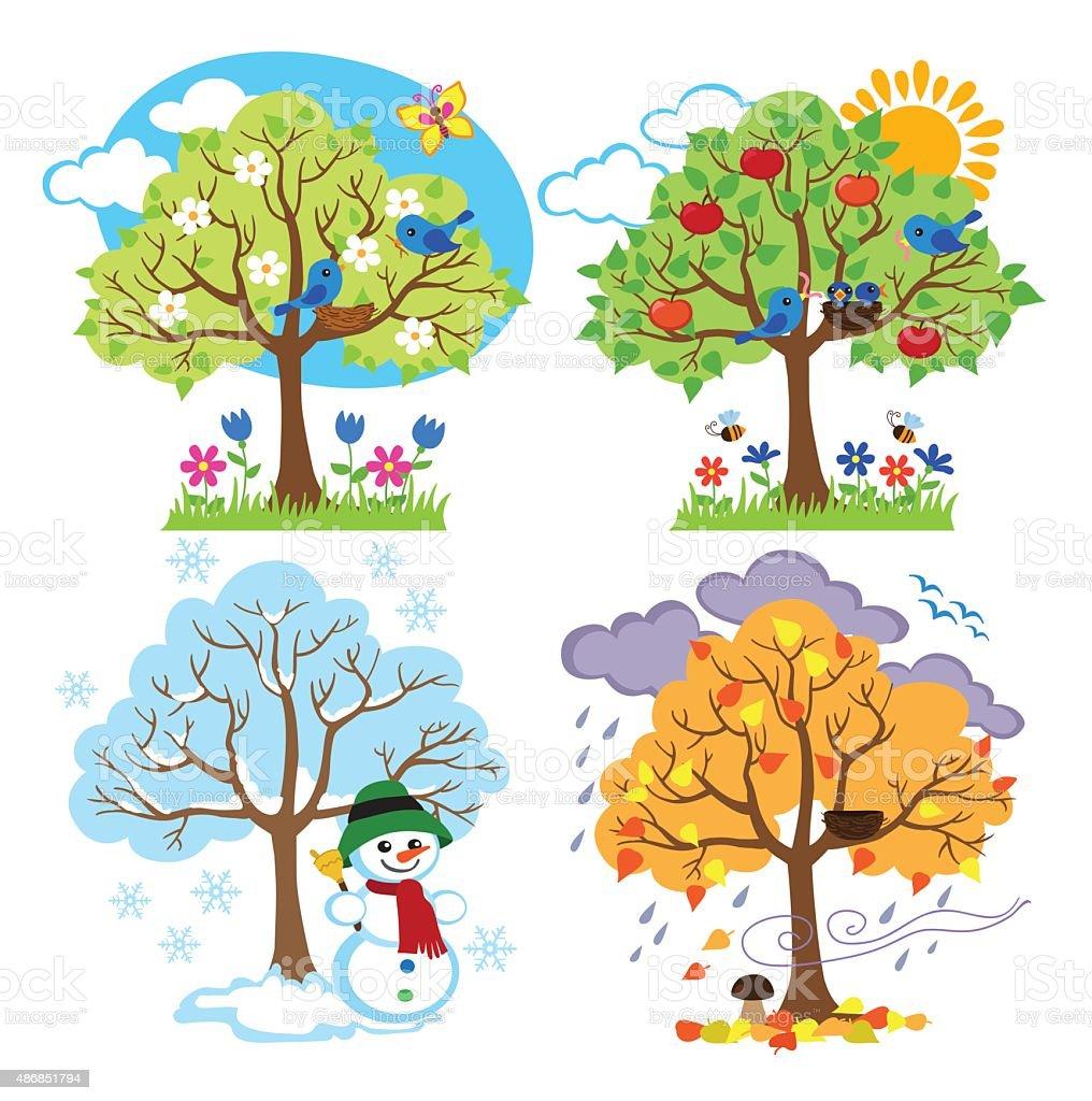 Vier Jahreszeit Bäume Clipart Mit Frühling Sommer Herbst Und Winter