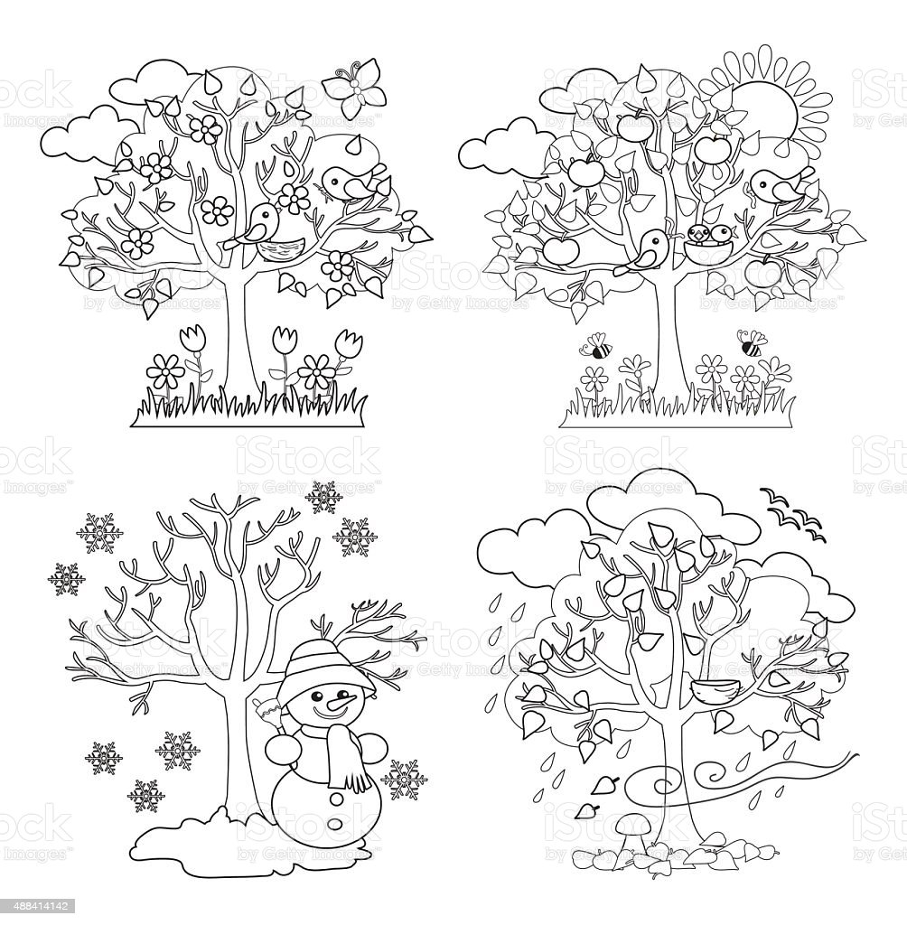 Four Seasons Trees Coloring Vector Illustration Stock ...