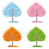Four Seasons Trees. Vector illustration.