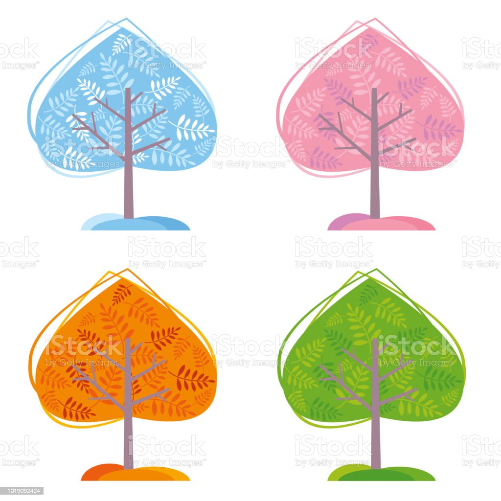 Four Seasons Trees vector art illustration