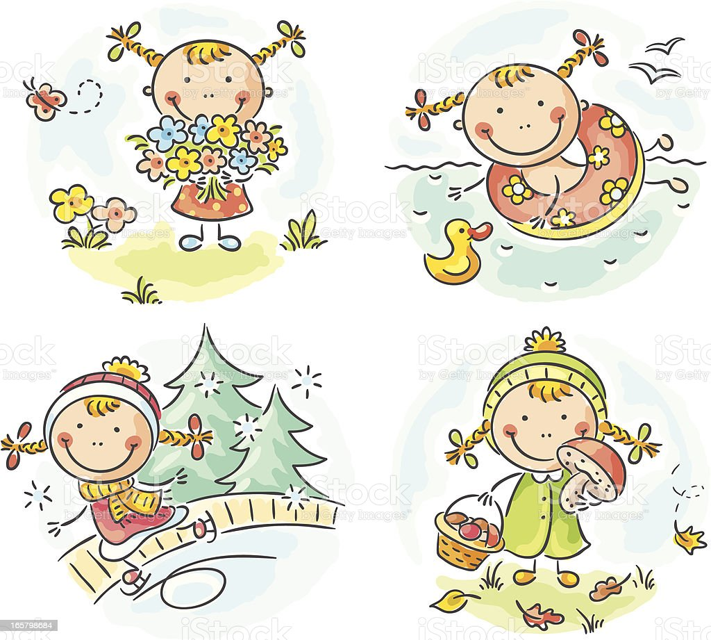 Four seasons (girl) royalty-free four seasons stock vector art & more images of autumn