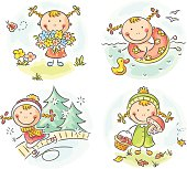 Different activities of one and the same girl during the four seasons, no gradients.