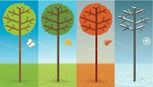 Four Seasons: Spring, summer, autumn, winter. An illustration of a tree during the course of a year. A metaphor of the elapse of time. EPS10 Illustration (file with transparencies and global colors).