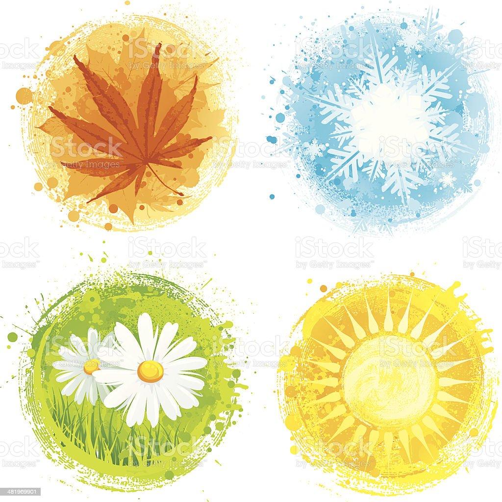 Four seasons vector art illustration