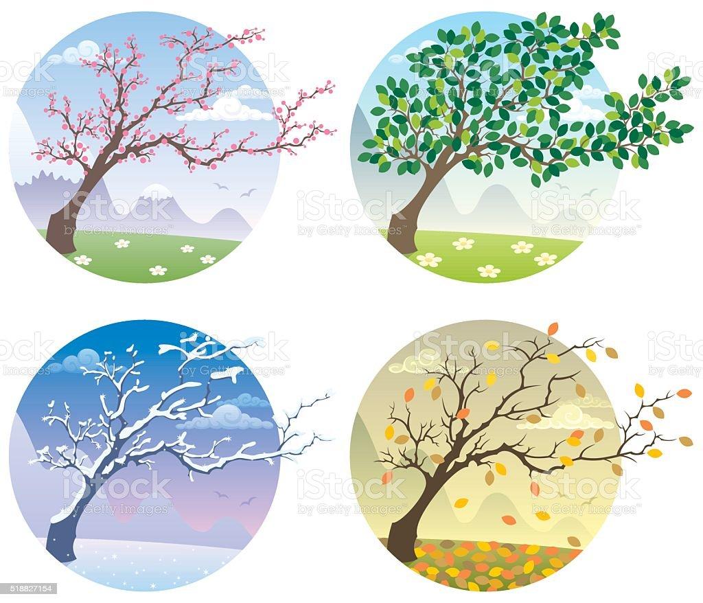 Four Seasons - ilustración de arte vectorial