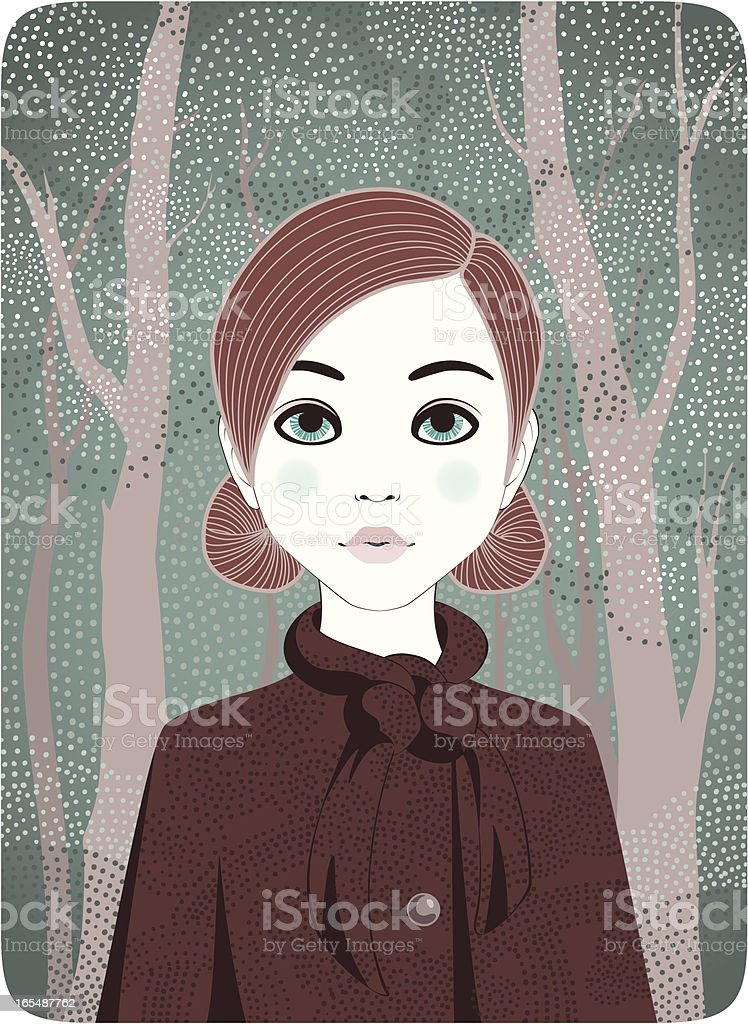 Four Seasons - Winter Girl royalty-free stock vector art
