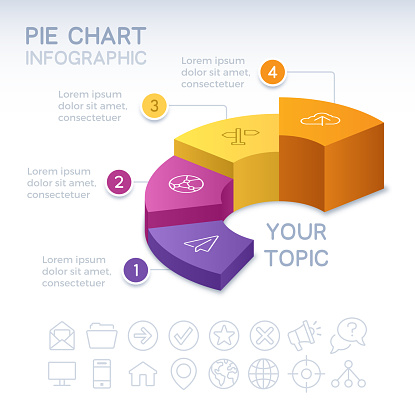 Pie chart 3D infographic isometric four 4 option pie chart info and data design.