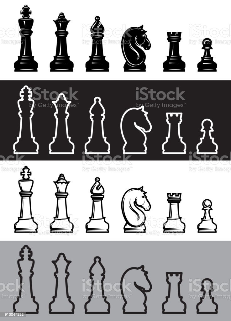 Four sets of chess icons. Vector illustration. vector art illustration