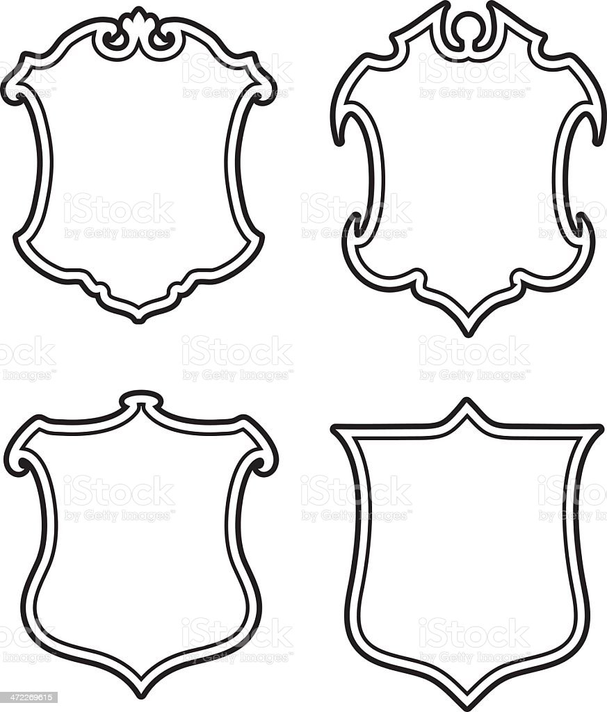 four shields or coats of arms 3 credits stock illustration