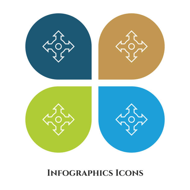 dört taraflı ok vektör çizimi simgesi tüm amaç için. 4 farklı arka plan üzerinde izole. - start stock illustrations