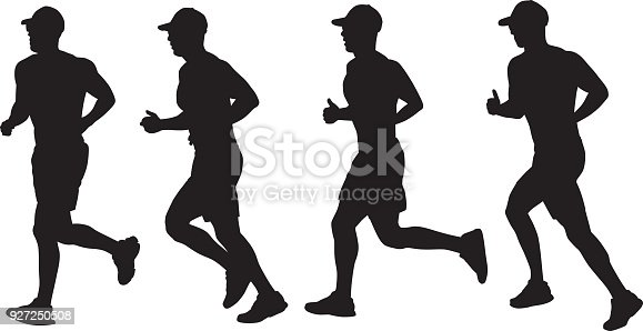 istock Four Silhouettes Of A Man Running 927250508