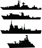 Four silhouettes of a military ship
