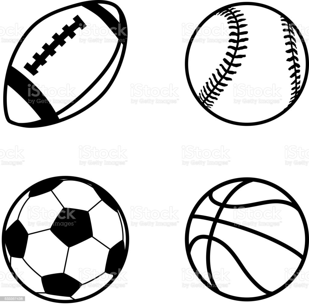 balls sport simple rugby clip ball vector basketball soccer games icons four football illustration baseball clipart drawings activity isolated usa