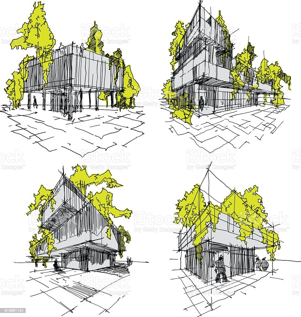 modern architecture sketch. Four Sketches Of Abstract Modern Architecture With Green And Trees Royalty-free Sketch I