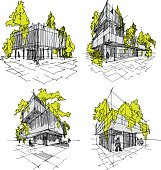 four sketches of abstract modern architecture with green and trees