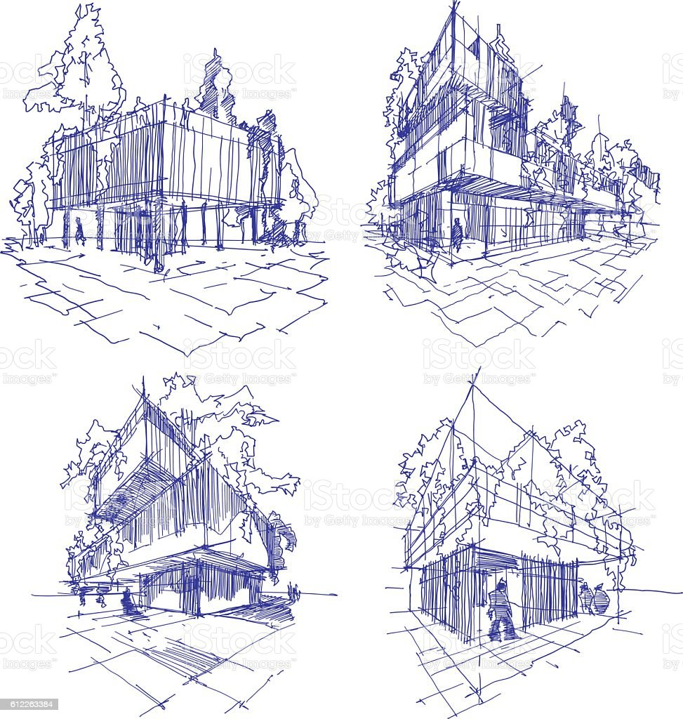 Four Sketches Of Abstract Modern Architecture With Green And Trees Royalty Free Stock Vector Art