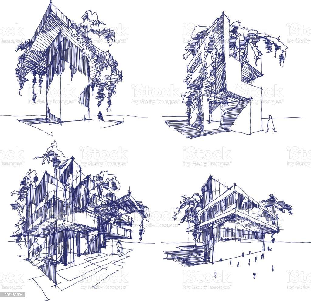 Vier Skizzen Der Abstrakten Moderne Architektur Mit Grun Und Baume Lizenzfreies
