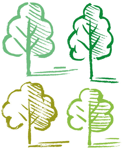 Four sketchy trees illustration vector art illustration