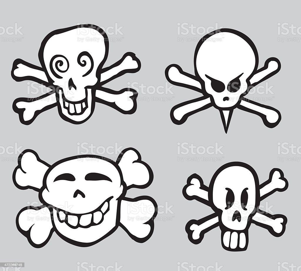 Four  Skulls and Bones royalty-free stock vector art