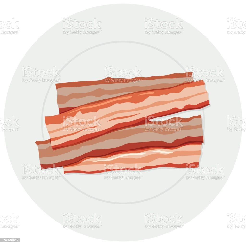 Four slices of bacon on plate royalty-free four slices of bacon on plate stock vector art & more images of art