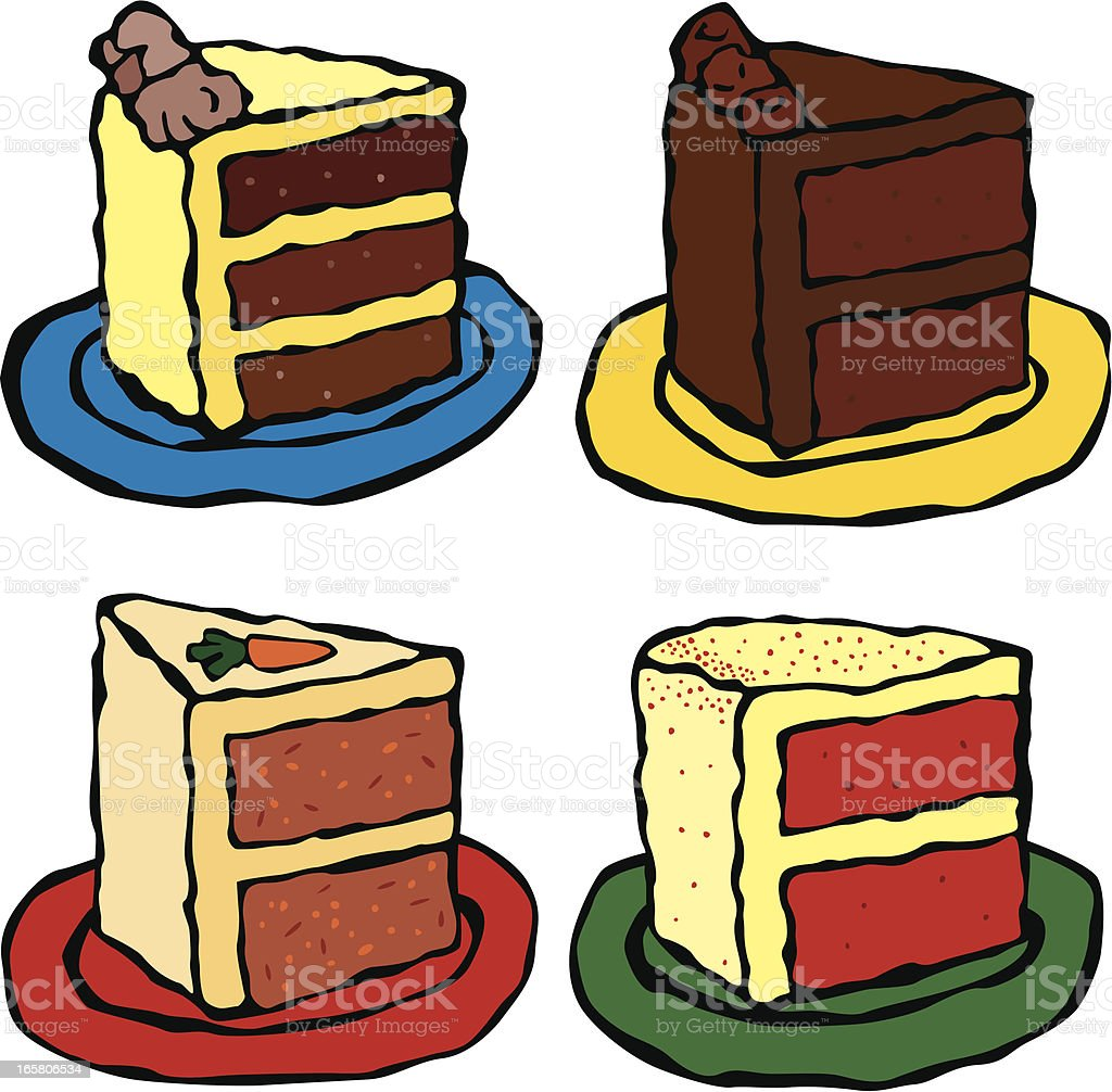 Four Slices of Cake vector art illustration