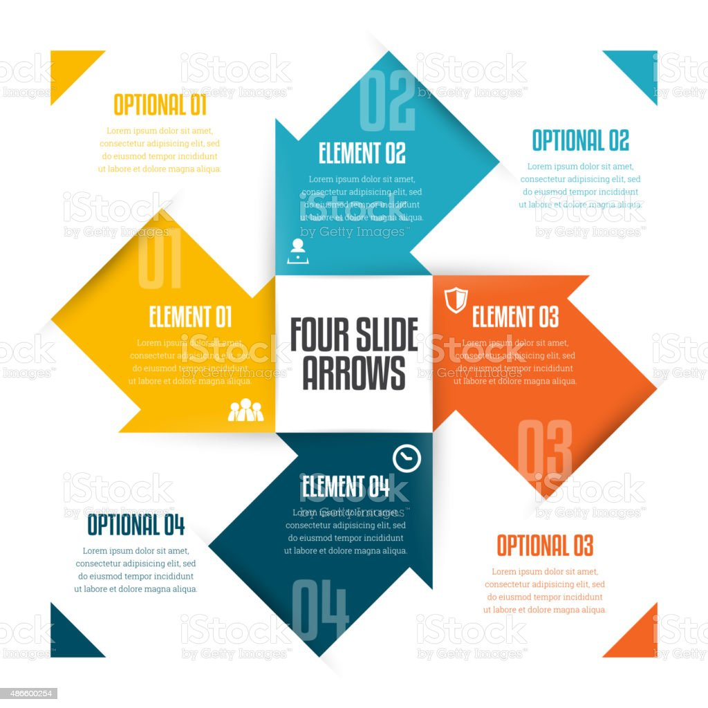 Four Slide Arrows Infographic vector art illustration