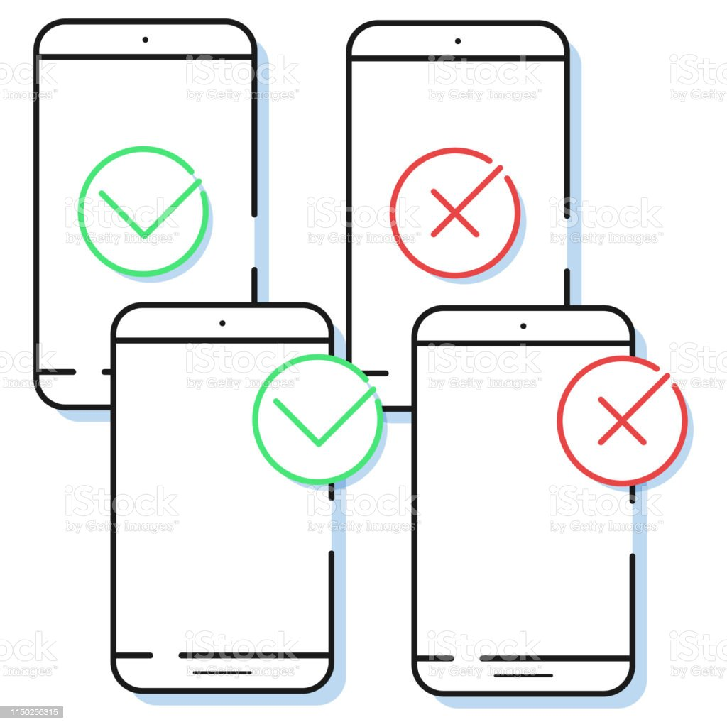 four smartphone icons with check mark in simple line style  outline cell  phone vector for