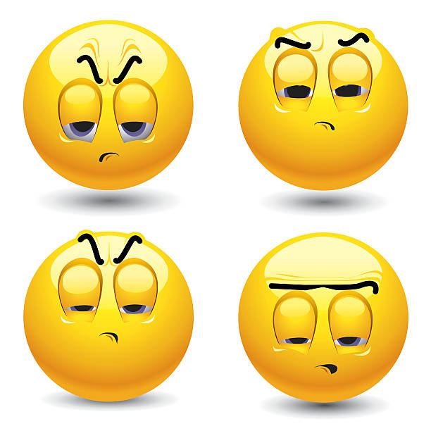 Four smiley face balls with angry expressions vector art illustration