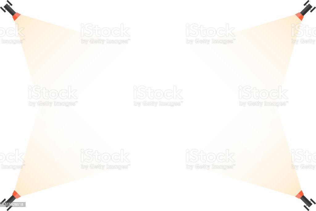 Four spotlight at the corners. vector art illustration