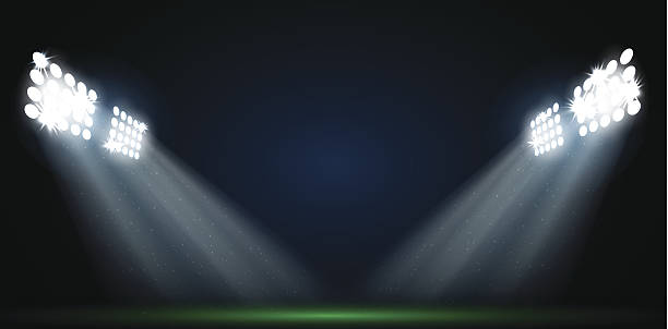 Vier Strahlern auf football-Feld Vektor – Vektorgrafik