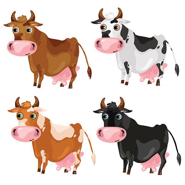 four spotted cartoon cows, vector animals - lustige kuh bilder stock-grafiken, -clipart, -cartoons und -symbole