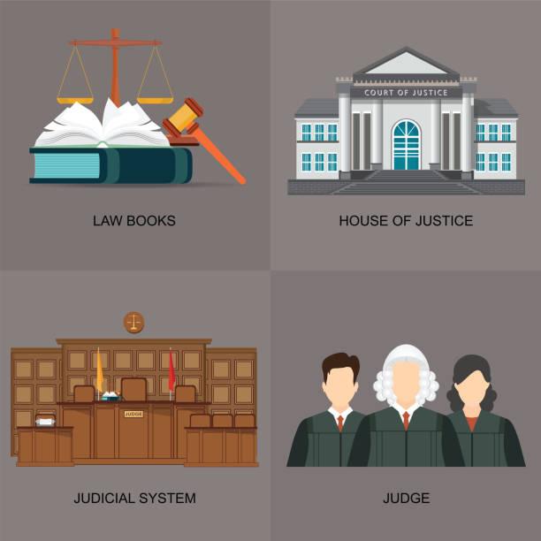ilustrações, clipart, desenhos animados e ícones de quatro quadrados plana lei ícone conjunto com o sistema judicial. - assistente jurídico
