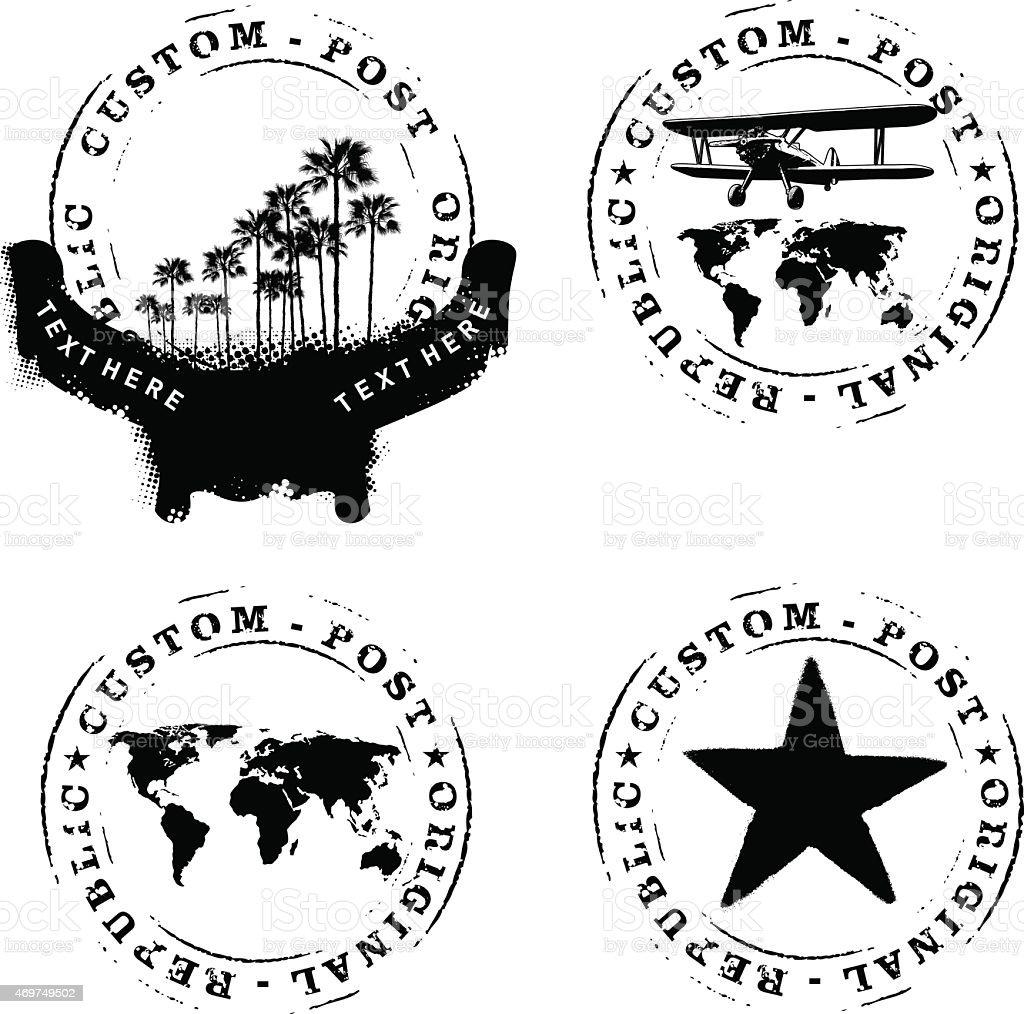 cuatro estampillas Marque con las palmas mapa plano y el mundo - ilustración de arte vectorial